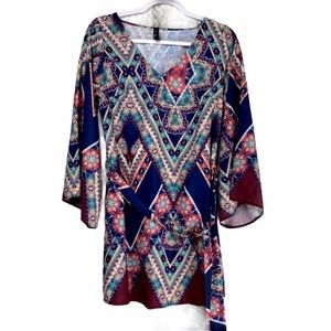 hP] CALLIOPE BLUE MULTI COLOR BELL SLEEVE TOP/…